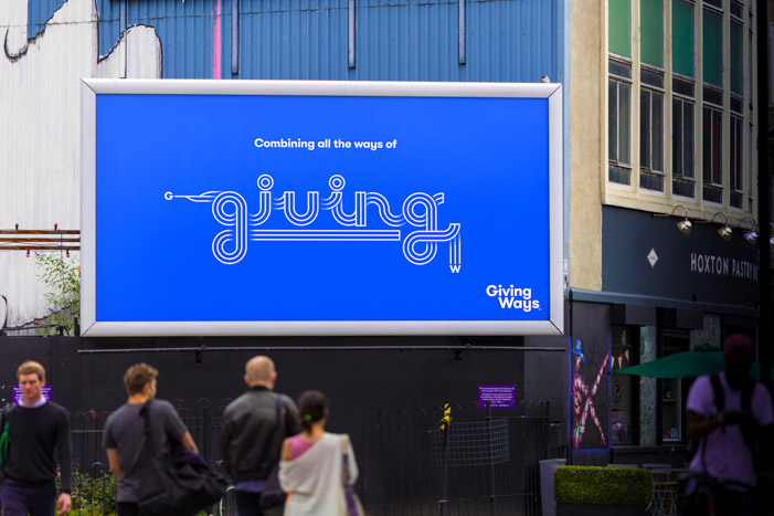 Billboard graphics created for the branding programme of the charity fundraising website, GivingWays.