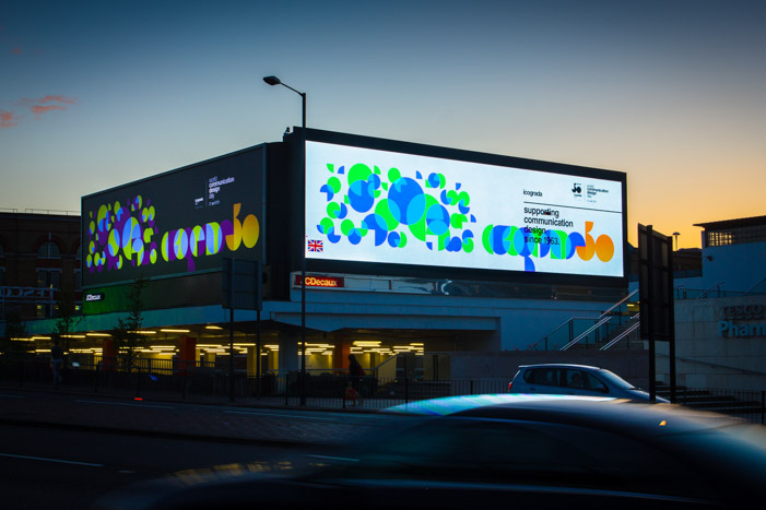 Digital and printed billboards designed for Icograda's Communication Design Day takeover on Cromwell Road, London.