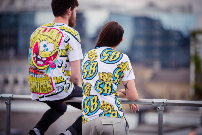 Fashion lifestyle lookbook photos of the YR x SpongeBob fashion collaboration.